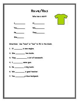 Has And Have Worksheets For Kindergarten Pdf