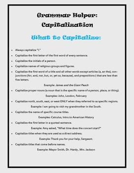 Grammar Helper: Capitalization