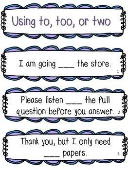 Grammar Homophone Task Cards