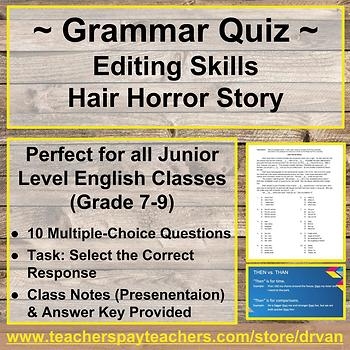 Grammar In Practice: Hair Horror Story (Grammar Quiz Activ