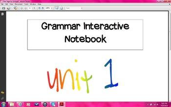 Grammar Interactive Notebook Grade 4 Unit 1 Sentences