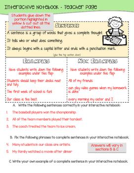 Sentences Interactive Notebook & Resources