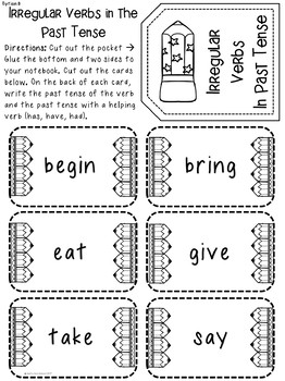Grammar Interactive Notebook and Task Cards for Verbs