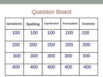 Grammar Jeopardy Game