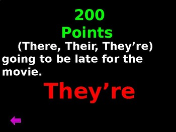 Grammar Jeopardy - Homophones, Prepositional Phrases, Commas, & Capitalization