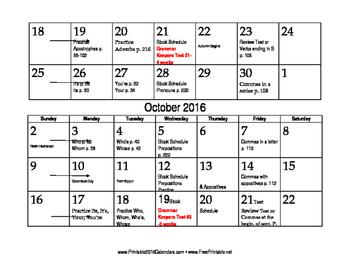 Grammar Keepers Calendar 2015-2016