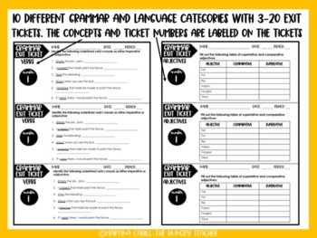 Grammar Language Exit Tickets Formative Assessment {10 FREE TICKETS} 6th 7th 8th