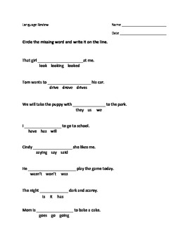 Grammar-Language Review Pronouns and Verbs