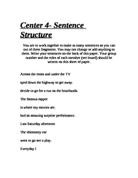 Grammar Learning Centers
