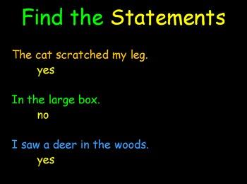 Grammar Lesson 1:  Identifying Statements