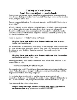 Grammar Lesson: Avoiding Adjectives and Adverbs