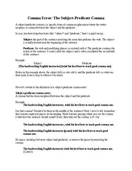 Grammar Lesson: Subject Predicate Comma Error