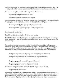 Grammar Lesson: Subject Verb Agreement