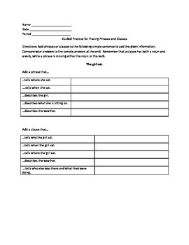 Grammar Lesson & Worksheets: Adding Phrases and Clauses