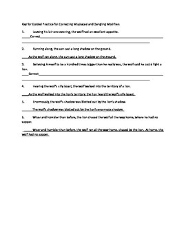 Grammar Lesson & Worksheets: Correcting Dangling Modifiers