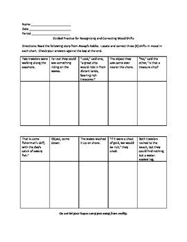 Grammar Lesson & Worksheets: Correcting Mood Shifts