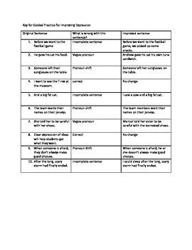 Grammar Lesson & Worksheets: Improving Expression