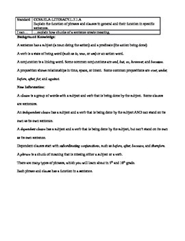 Grammar Lesson & Worksheets: Phrases & Clauses