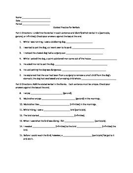 Grammar Lesson & Worksheets: Verbals