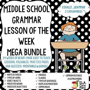 Grammar Lesson of the Week Mega Bundle ~Middle School ELA