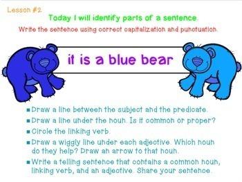 Grammar Practice (Identify Parts of Speech in Declarative Sentences) Power Point