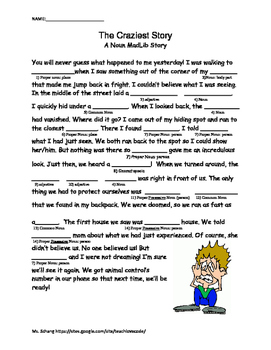 Grammar Mad Lib with Nouns