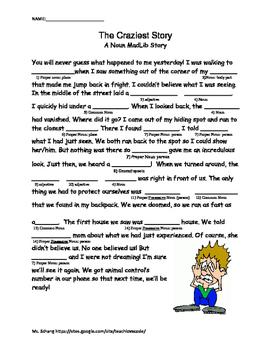 Grammar Mad Lib with Nouns