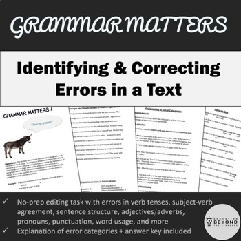 Grammar Matters 1 - Editing task with error categories explained