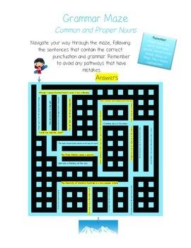 Grammar Maze - Common and Proper Nouns