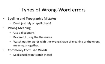 Grammar Mistakes Reviewed - Presentation and Handout
