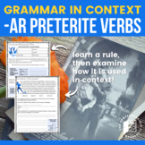Grammar Notes: -AR Preterite regular with reading and acti
