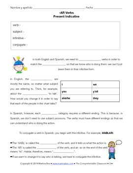 Grammar Notes: -AR verbs, present indicative, with Spanish reading & activity