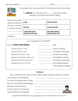 -AR verbs, present indicative - grammar notes with Spanish reading & activity
