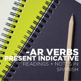 -AR verbs, present indicative - grammar notes with Spanish