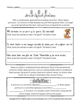 grammar notes direct object pronouns in spanish tpt. Black Bedroom Furniture Sets. Home Design Ideas