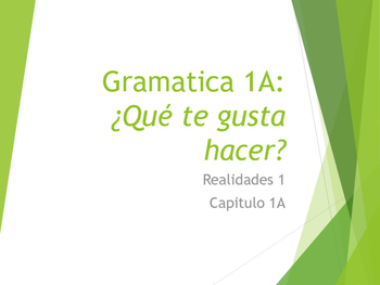 Grammar Notes Realidades 1 Chapter 1A