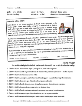 Grammar Notes: Stem change o-ue with reading and communicative activity