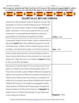 Grammar Notes and Cultural Reading: De for possession and Felipe VI