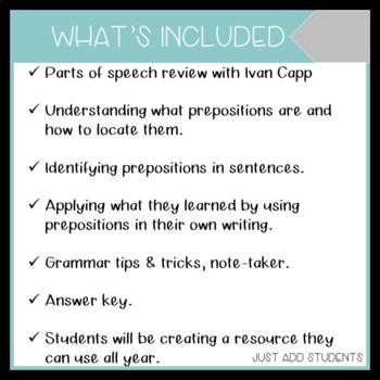Grammar Notes for Prepositions