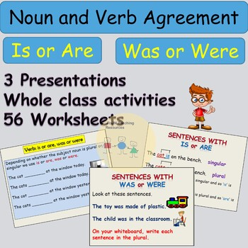 Grammar - Noun and Verb Agreement Is or Are-Was or Were Presentations Worksheets