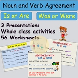 Noun and Verb Agreement Grammar- Is or Are-Was or Were Presentations Worksheets