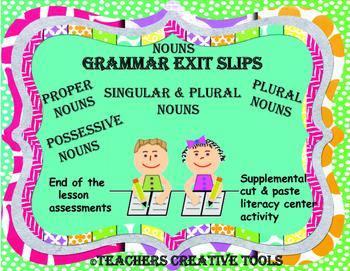 Grammar Nouns Exit Slips
