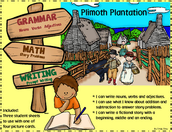 Grammar (Nouns, Verbs, Adj), Math, Writing ~ Plimoth Plantation Scene Cards