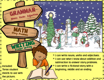 Grammar (Nouns, Verbs, Adj), Math, Writing ~ Winter Scene Card