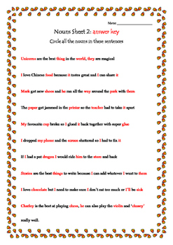 Grammar Nouns sheet 2