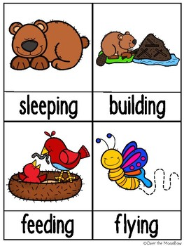 Grammar On the Go | Animals in Action Verbs Write the Room Activity Pack