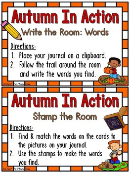 Grammar On the Go | Autumn in Action Verbs Write the Room Activity Pack