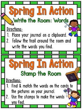 Grammar On the Go | Spring in Action Verbs Write the Room Activity Pack