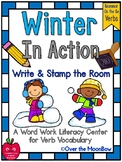 Grammar On the Go | Winter in Action Verbs Write the Room Activity Pack