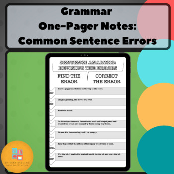 Grammar One-Pager: Common Sentence Errors